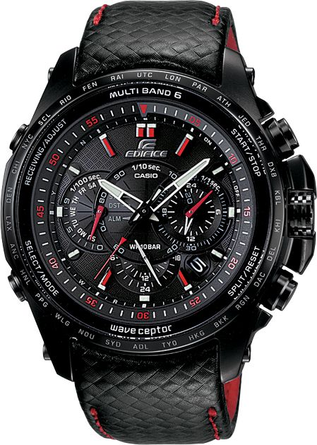 Casio Edifice EQWM710L-1A.  Solar powered, atomic time, cool watch for the $$.  Saw the advertised during the Austin F1 race coverage.
