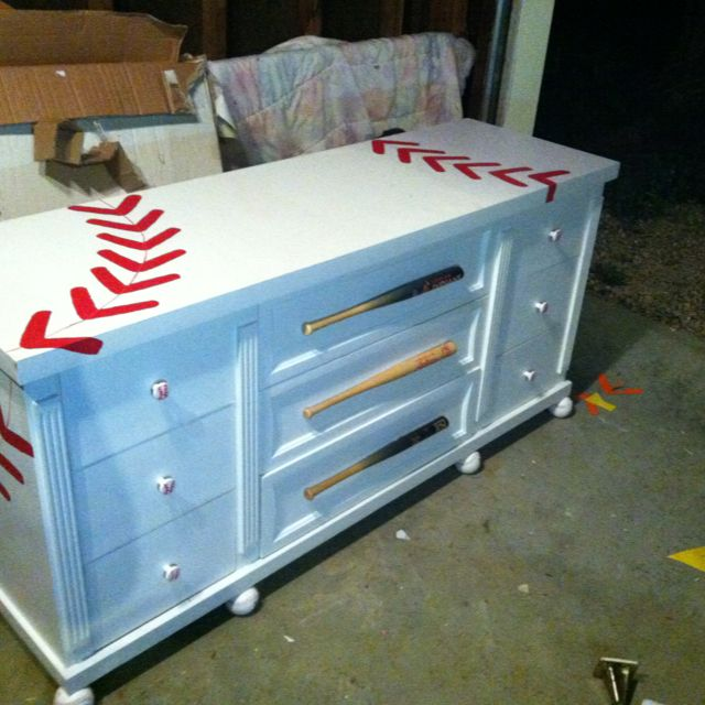 Baseball dresser. Oh the possibilities with the different types of sports! So cute! Love this