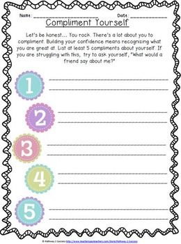 Self Esteem And Confidence Building Worksheets