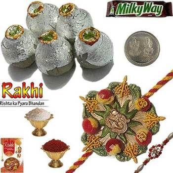 Gift to Brother Kaju Kalash Sweet n Mauli Rakhi. Buy rakhi online