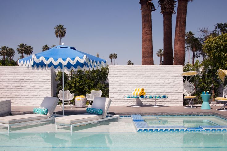 Elegant Trina Turk Coral fashion Los Angeles Midcentury Pool Decorators with blue blue mosaic tile pool blue outdoor umbrella blue tile pool design Canyon ...