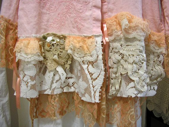 Shabby Pink Blouse refashioned altered by TatteredDelicates