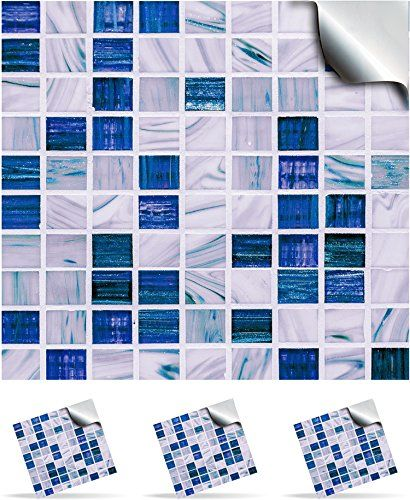 """From 9.95 Tp12 - 6"""" Sea Blue - 30 Printed In 2d Kitchen / Bathroom Tile Stickers For 150mm (6 Inch) Square Tiles  Directly From: Tile Style Decals No Middleman (6"""" Pack Of 30)"""