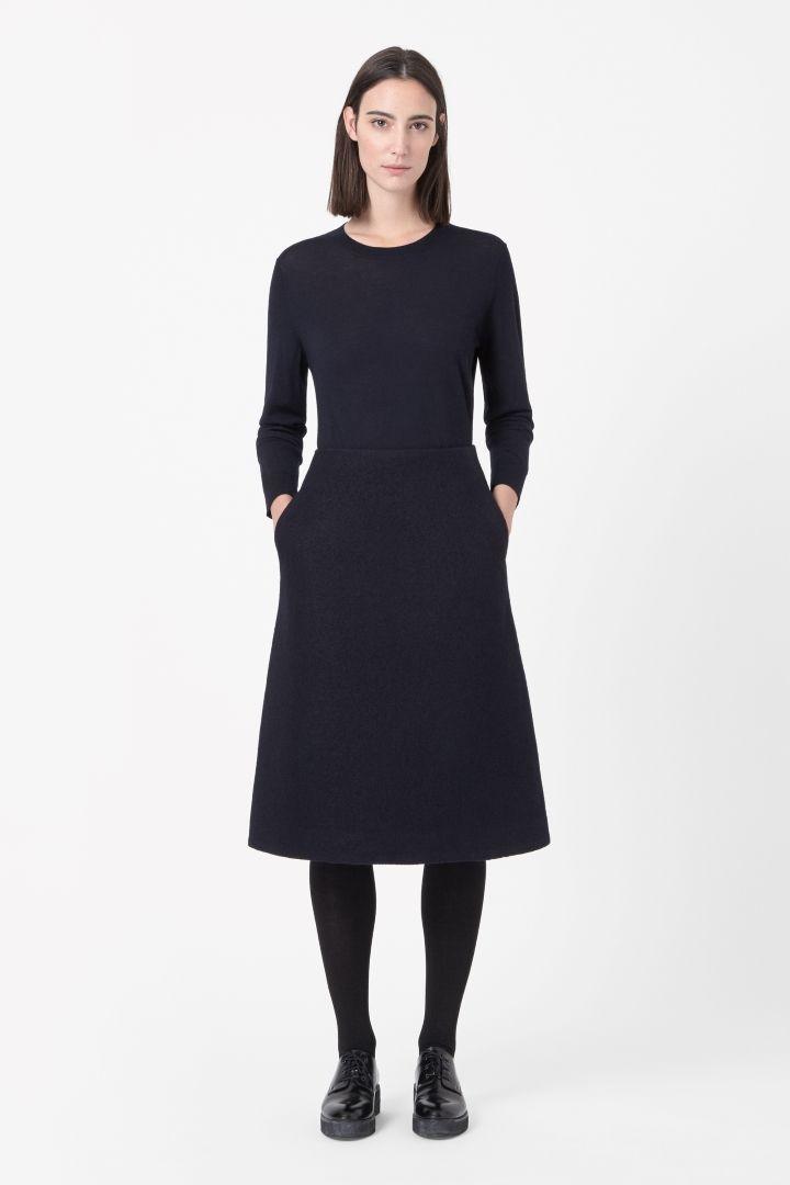 COS   Zip-back wool skirt