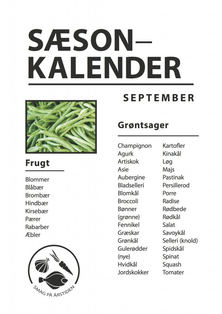 Sæsonkalender September | Smag På Årstiden