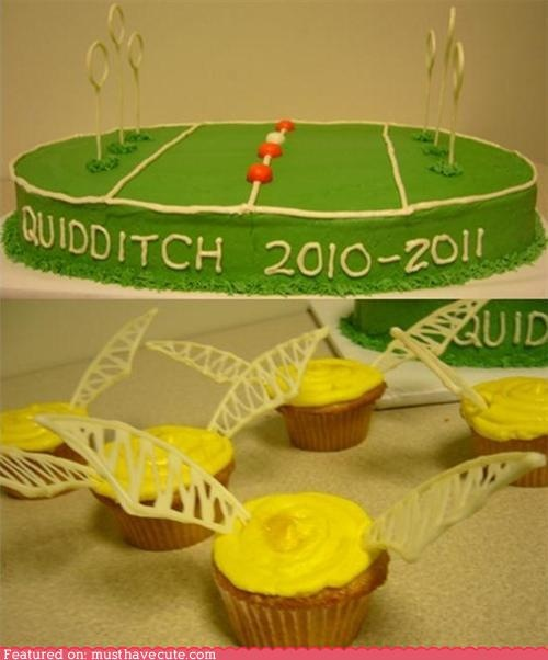 Cake and cupcakes I made for our Quidditch Club; Showing that Harry Potter love!