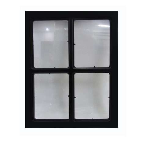 featuring a window pane design with a black frame this contemporary frame houses four photographs