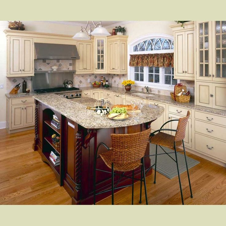 Cream cabinets dark island kitchens pinterest for Kitchen design 65 infanteria