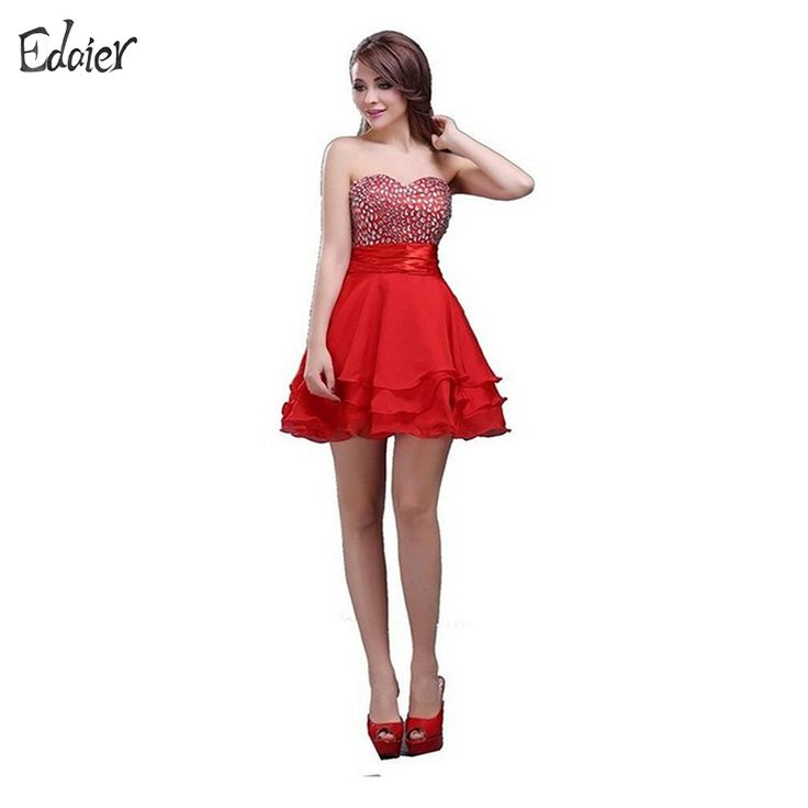 ==> [Free Shipping] Buy Best Cocktail Dresses 2017 A Line Sweetheart Beaded Crystal Backless Short Prom Dress Party Dress Mini Red Pink Robe De Cocktail Gown Online with LOWEST Price | 32816165639