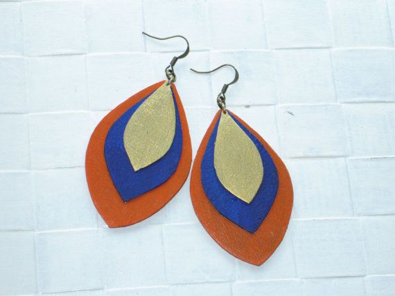 Handmade Leather Earrings.Summer Jewellery by VelmaJewelry on Etsy