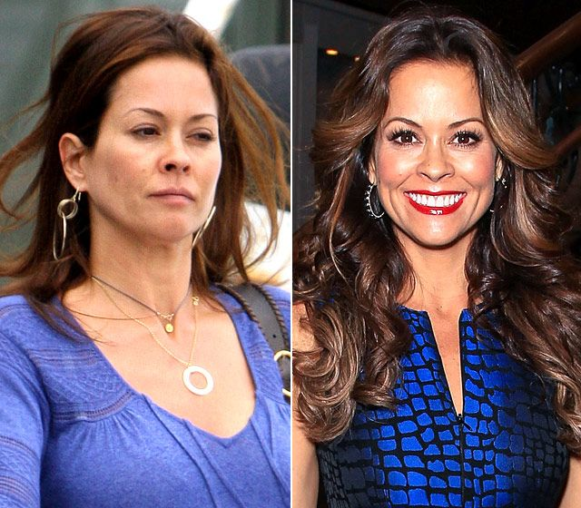 Brooke Burke-Charvet LEFT: getting a pedicure in Malibu on July 8, 2010 On right: attending a fundraiser for Operation Smile in Beverly Hills on Oct. 25, 2012