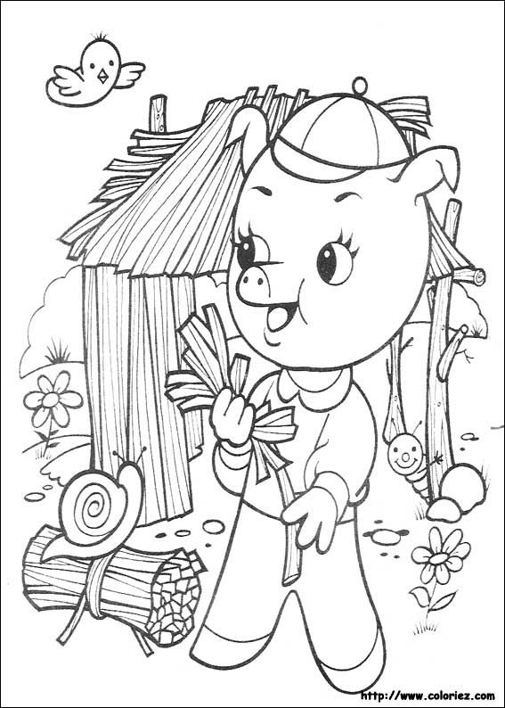 coloriage de Les 3 petits cochons