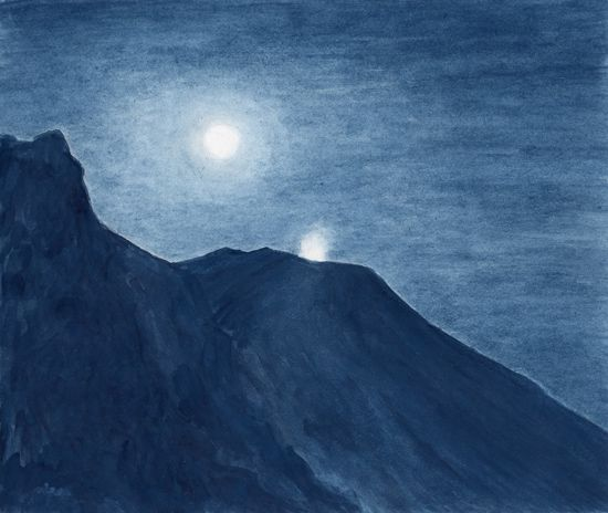 Stromboli by night, watercolor by Jana Haasová