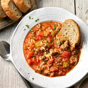 Stuffed Pepper Soup Recipe -Some of us cooks at the restaurant where I work were talking about stuffed peppers. We decided to stir up similar ingredients for a soup. Customer response was overwhelming! —Krista Muddiman, Meadville, Pennsylvania