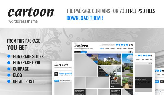 Feel #free to use for your own project this #PSD files of Cartoon #WordPress Theme. Package includes layered 5 PSD files of Homepage Slider, Homepage Grid, Subpage, Blog and Detail Post.