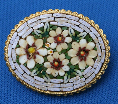 Vintage Micro Mosaic Glass Flowers Pin