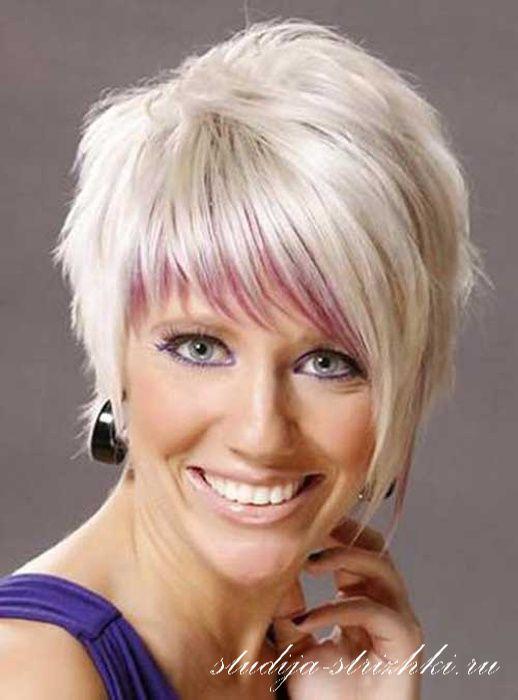 Стрижка Асимметрия с окрашиванием холодный блонд на короткие волосы