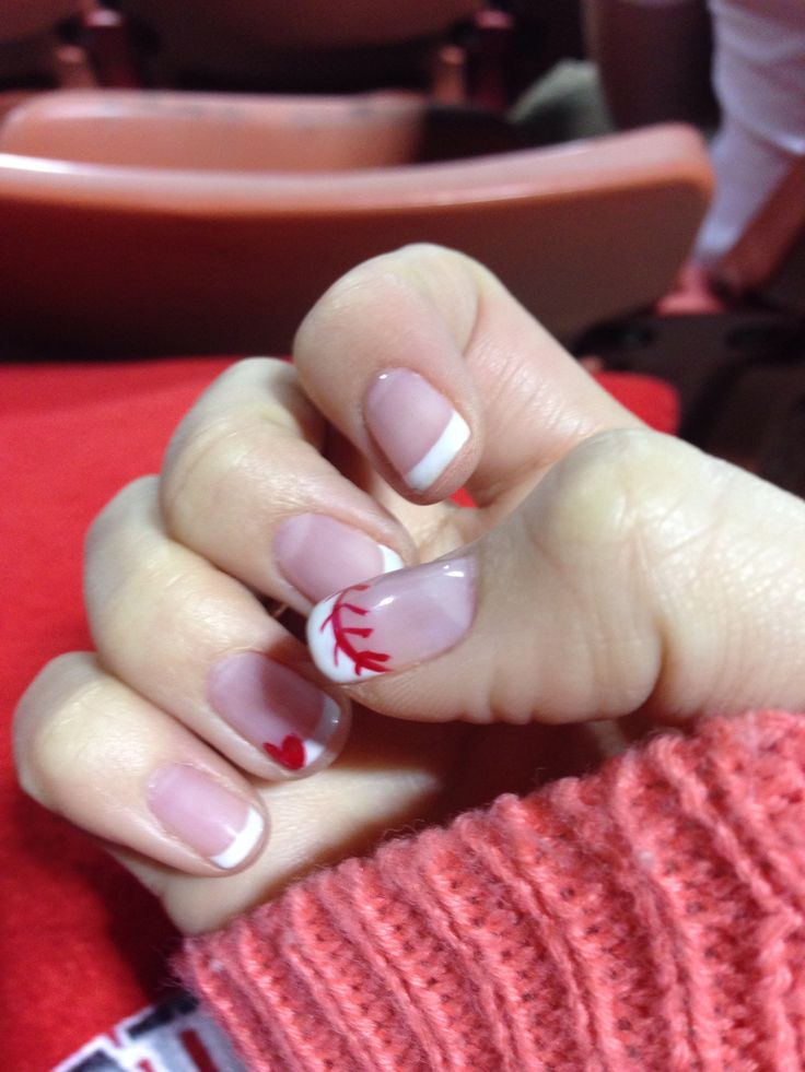 Baseball nail design with heart beauty nails French manicure