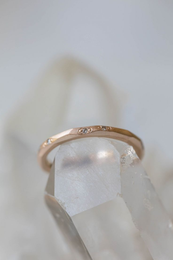 The Romance of Hidden Stones / e.g.atal Krista Mcrae Rose Gold Faceted Diamond Band / via The LANE