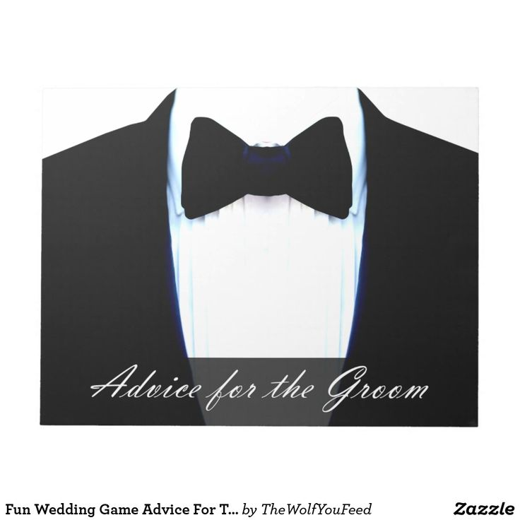 Fun Wedding Game Advice For The Groom Tuxedo Notepad - Add a fun keepsake or memento of your wedding by getting the guests to write a funny or serious word of advice the groom in the big white space between the grooms wedding tuxedo jacket on this notepad. Read them our loud at the wedding or wait until your honeymoon to read them together, but keep them forever to remember.