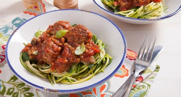 Feast your eyes on these Veggie Meatballs from Eat Live Move served on zucchini noodles.  #dinner #blogger #recipe