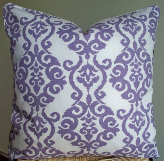 Cream Decorative Pillow Covers : Set of 2 Lavender Cream Decorative Pillow Covers Damask 18X18 LAST TWO Damasks, Cream and Of