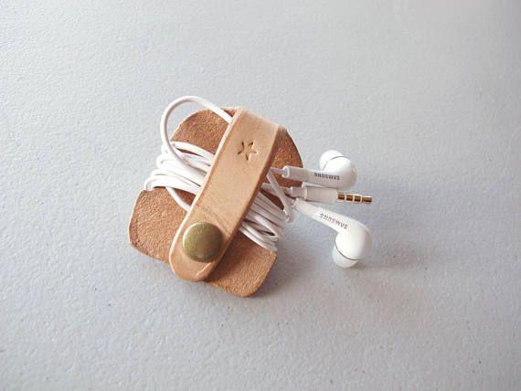 Leather Earbud Keeper Earphones Organizer Tech Accessories