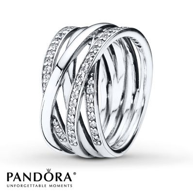 Plain bands and cubic zirconia-studded bands entwine to form this memorable sterling silver ring from the Pandora Autumn 2014 collection. Additional sizes may be available through special order at your nearest Jared location. Style # 190919CZ-54.