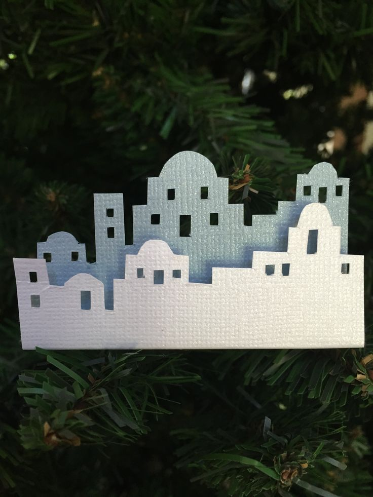 Skyline - Bethlehem. White & light blue cardstock, foam spacers. Made 2015