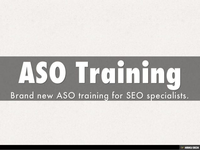 ASO course sections, training details on #slideshare