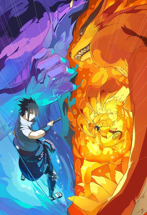 Sasuke Uchiha vs Naruto Uzumaki- Naruto and Kurama(nine tails)❤️