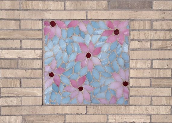 Cherry Blossom Purity Mosaic Accent Piece by Dyanne Williams Mosaics on Etsy