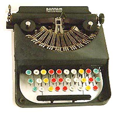 Rem-Rand Bantam #C153272 (USA, Nov. 1938) -- child's portable typewriter, caps only