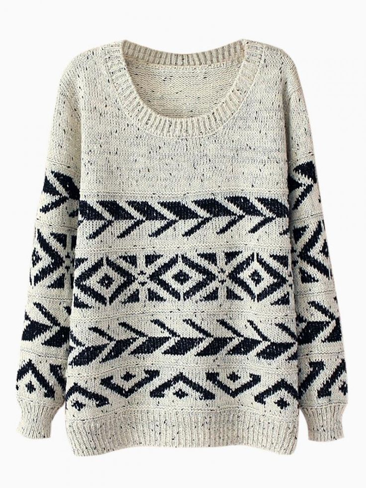 Beige Geometry Jumper In Twist Yarn - Choies.com, sweater, winter weather, cold and dreary weather wardrobe choices, beside the fireplace kind of sweater, last minute gifts