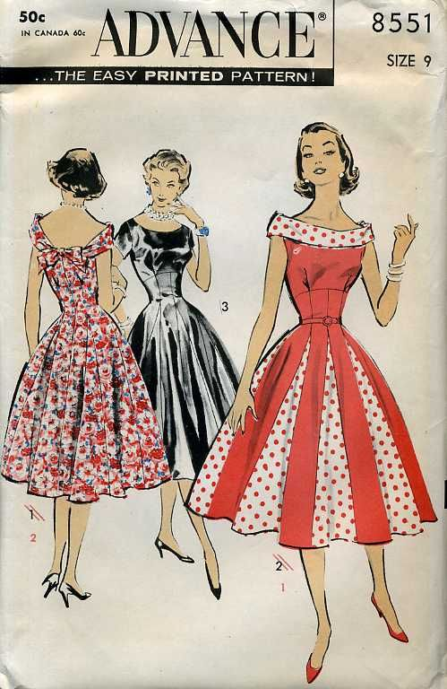 1950s Advance Pattern 8551 - Pretty-As-A-Princess Dress with high Empire lines, princess seamed skirt with godet insets.