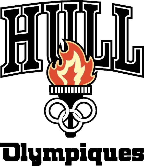 Hull Olympiques Primary Logo (2003) - A torch with red and yellow flame in between team name.  Un incendier avec le nom intermédiaire d'équipe de flamme rouge et jaune.