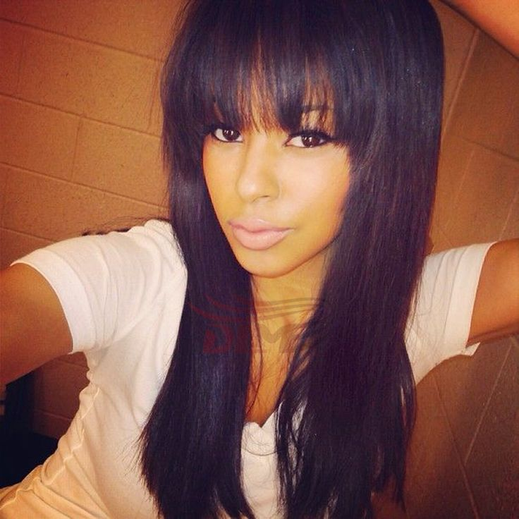 Cheap Long Straight Human Hair Wig With Full Bangs Silky Straight Brazilian Full Lace Wig With Bangs For African American Women