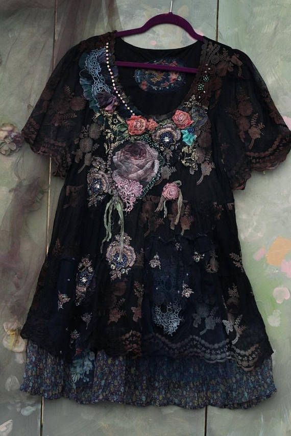 Inspired by old textiles, antique wallpapers, shades of nature and refined shades of late Victorian garments. Layered lacy tunic is black in general, the embroidered lacy floral pattern on it has been hand dyed uneven shades of browns and greens giving the vision of patinated old