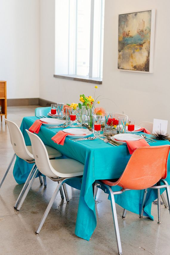 Dazzling and bold, we love the turquoise/peach color combo. Never seen it before, but it was love at first sight.
