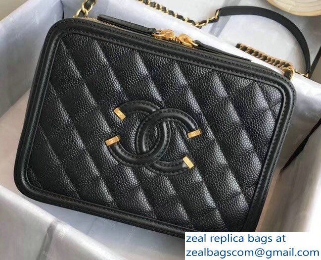300e516bc5d0 Chanel CC Filigree Grained Vanity Case Shoulder Small Bag Black 2018 ...