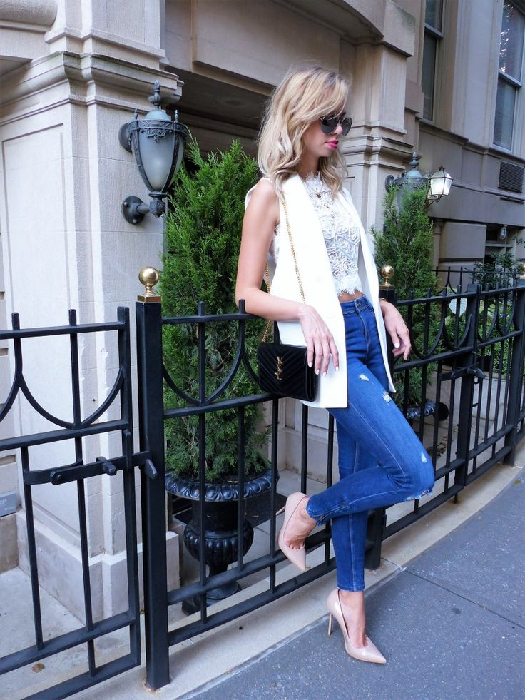 Upper East Side Chic - Upper East Side Chic - Outfit Inspo via www.my-philocaly.com Lace Crop Top, Vest, destroyed denim, nude heels, YSL Bag, New York