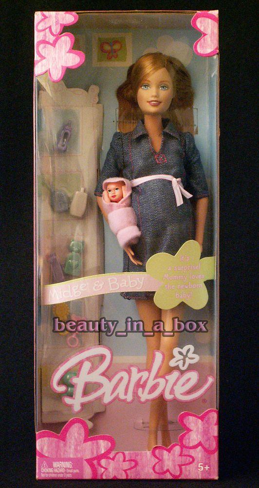 "Pregnant Midge & Baby Barbie Doll Tummy Bump Family Happy Denim Dress NRFB "" #Mattel #DollswithClothingAccessories"