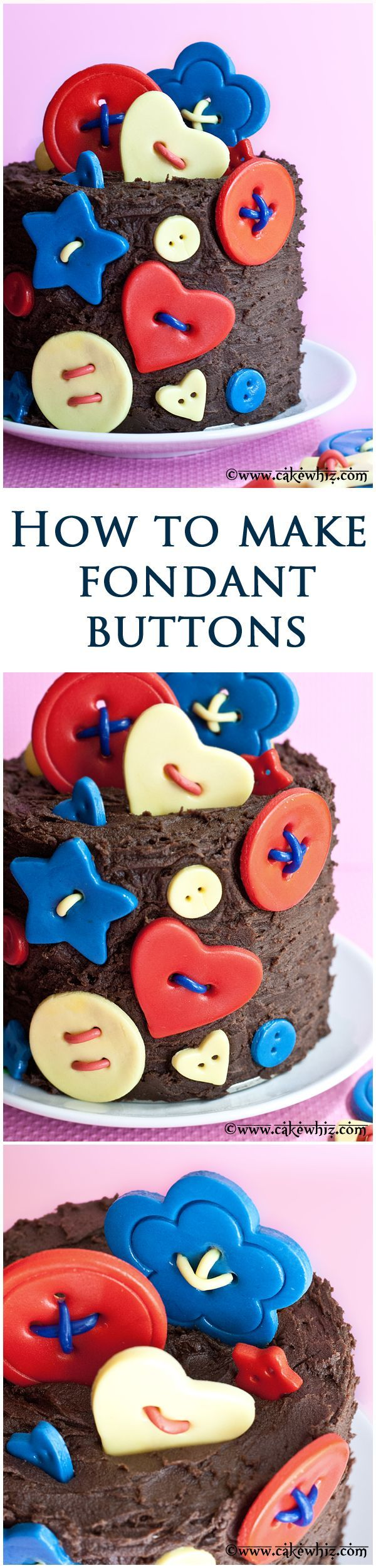 Learn to make EASY fondant buttons for your cakes and cupcakes. Great for baby showers and birthdays! From cakewhiz.com