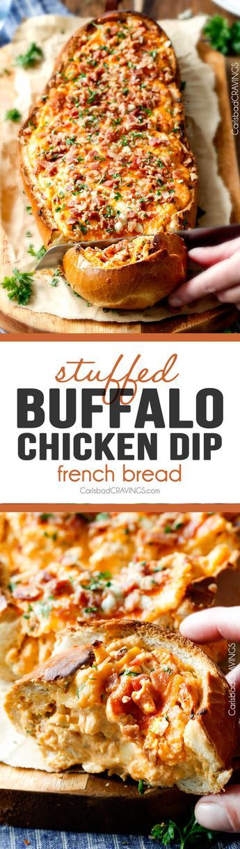 Mega flavorful Buffalo Chicken Dip Stuffed French Bread is your favorite decadent creamy, cheesy dip baked right into the loaf! Crazy delicious side or EASY crowd pleasing appetizer perfect for parties or game day! My friends always beg me to make this!