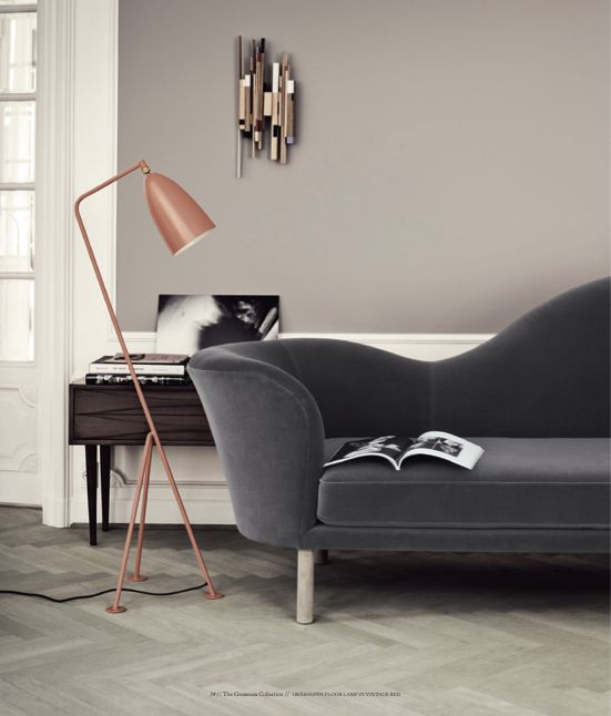 Violet taupe walls (not beige), green gray floors, charcoal sofa.