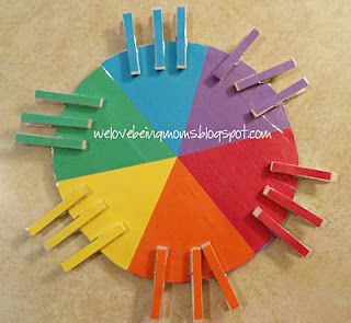 Color teaching pinwheel- would be good for fine motor and color recognition.