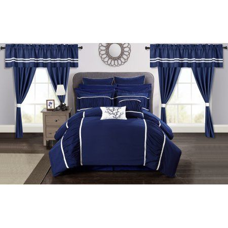 Chic Home 24-Piece Auburn Complete bedroom in a bag Pinch Pleat Ruffled Designer Embellished Queen Bed In a Bag Comforter Set Navy With sheet set, Blue