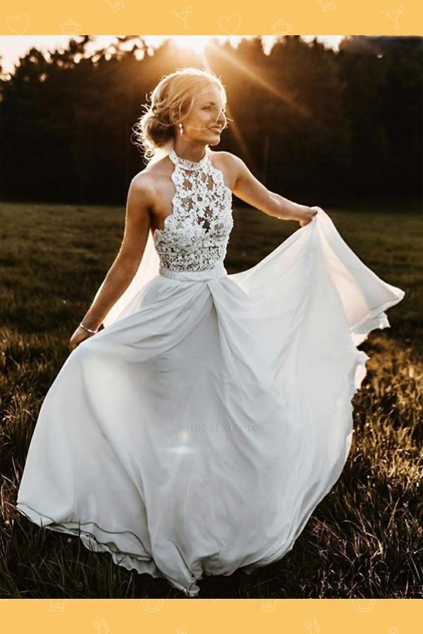 Cheap Wedding Dress, Chiffon Wedding Dress, Sleeveless Wedding Dress, Lace Weddi…