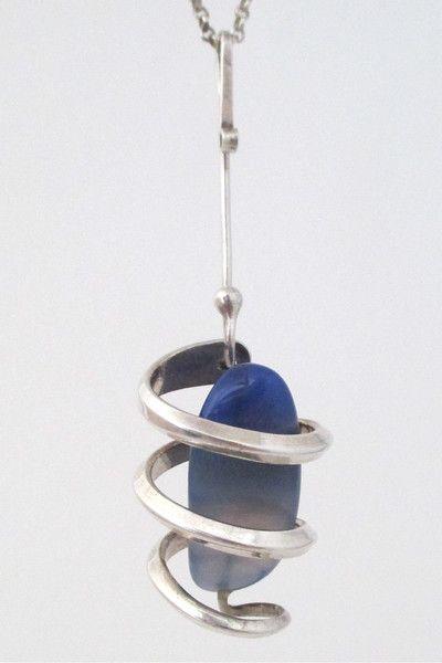 Anna Greta Eker, Norway Design - vintage modernist silver & banded agate long pendant necklace