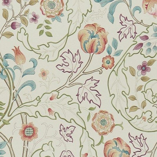 Mary Isobel Wallpaper - A wonderful design from the Morris & Co collection in rose and artichoke. 'Mary isobel' shows scrolling acanthus leaves and flowers.
